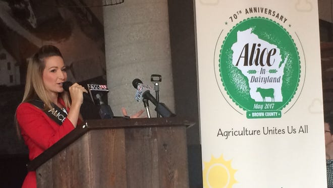 Teyanna Loether, the reigning Alice in Dairyland, speaks at a kickoff event at The Cannery Public Market in Green Bay on Thursday morning, May 12, 2016, for Brown County's selection to host the 70th Alice in Dairyland finals next May.