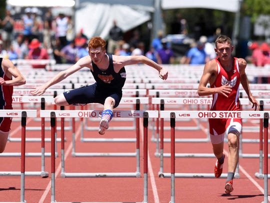 Gallon's Colin McCullough runs in the boys 110-meter