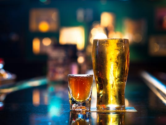 Pint of Beer and Shot of Whiskey on Bar