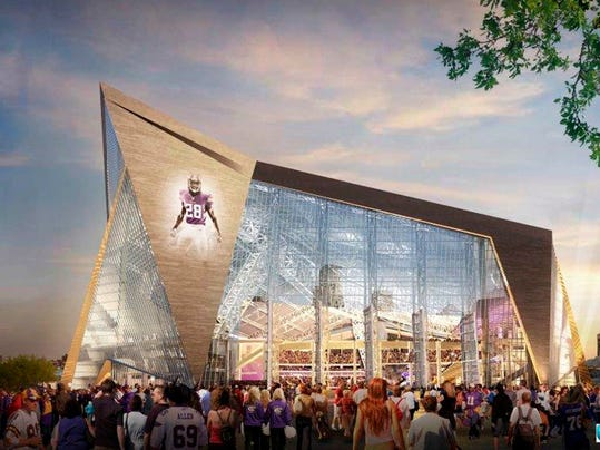 FILE - This May 13, 2013, file photo, provided  by the Minnesota Sports Facilities Authority and the Minnesota Vikings is a rendering of  the new Vikings football stadium. The Vikings are kicking in another $19.7 million for their new stadium to make sure it has the features they want, a spokesman said Friday, Aug. 22, 2014. Rising steel prices and refined cost estimates for the stadium's massive pivoting glass doors created a budget shortfall. (AP Photo/HKS, File)
