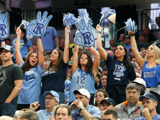 Rhode Island fans cheer for their team against Creighton during a first-round game in the NCAA college basketball tournament in Sacramento, Calif., Friday, March 17, 2017. Rhode Island won 84-72.