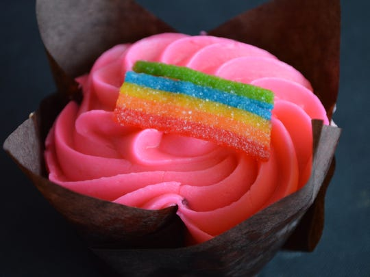 The rainbow sherbet cupcake is Jen's Sweet Treats' number one seller. It's an orange cupcake with lime filling and raspberry frosting for $3.