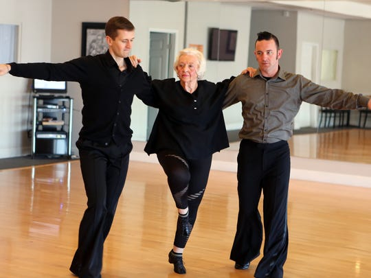 March 20, 2017 - Josie Howser practices with dance partners Iura Kora (left) and Anthony Parks for an upcoming charity show.