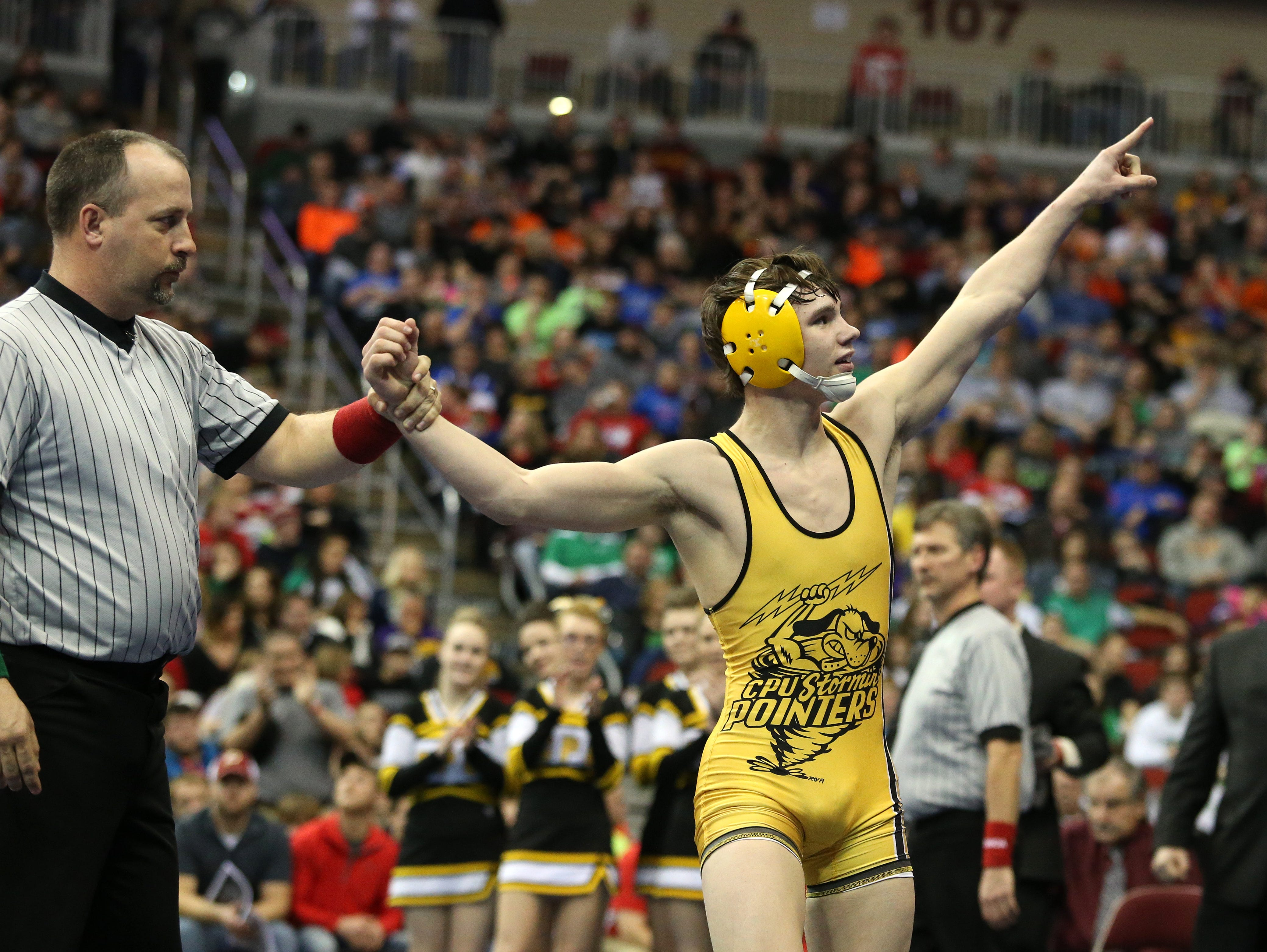 Center Point Urbana junior Brock Rathbun won a Class 2A title at 120 pounds over Seargant Bluff-Luton sophomore Brayden Curry on Saturday, Feb. 21, 2015, during the 2015 Iowa state wrestling championships at Wells Fargo Arena in Des Moines, Iowa.