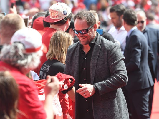 Former Red Wing Joe Kocur makes his way down the red carpet.