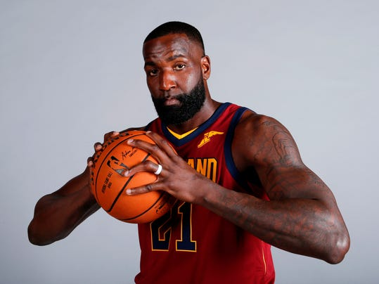 FILE - In this Sept. 25, 2017, file photo, Cleveland Cavaliers' Kendrick Perkins poses for a portrait during the NBA basketball team media day in Independence, Ohio. Veteran forward Kendrick Perkins is back with the Cavaliers. Cleveland signed Perkins on Wednesday, April 11, 2018, the final day of the regular season, and will have him on its playoff roster as the Cavs try to make the NBA Finals for the fourth straight year.(AP Photo/Ron Schwane, File)