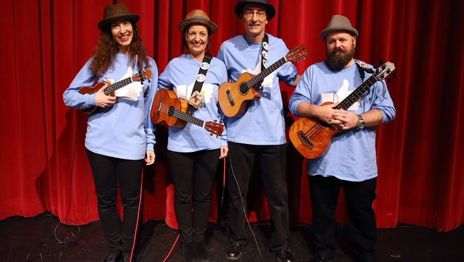 The Uke-A-Likes, Lisa Martin, l, Beth Bachman, Kevin Coughlin and David Codey at the Morris Educational Foundation Media Day at Morristown High School for its 9th annual Morristown Talent Show renamed Morristown ONSTAGE. The event will take place on February 24, 2016 at the Mayo Performing Arts Center. January 9, 2016, Morristown, NJ.