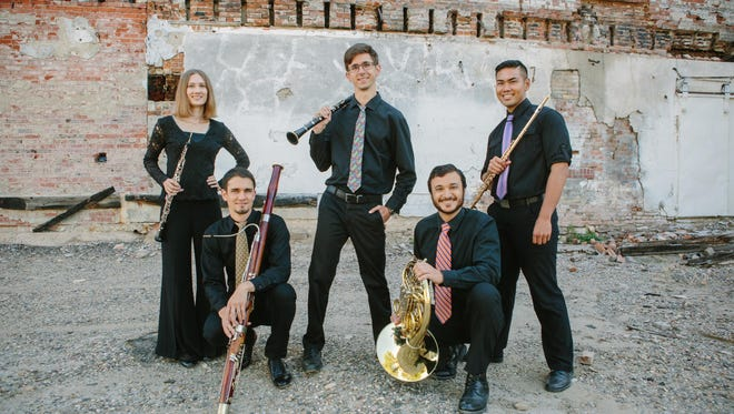 The latest Chinook Winds ensemble includes, from left, Lauren Blackerby, Dorian Antipa, Chris Mothersole, Mike Nelson and Norman Gonzales.