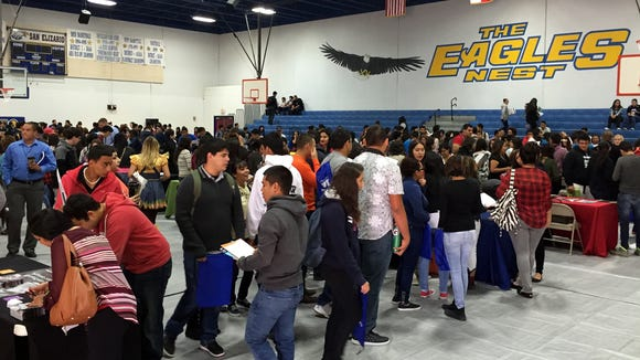 Students from Fabens, Tornillo, Fort Hancock and other Lower Valley school districts check out the college fair hosted at San Elizario High School on Oct. 29. San Elizario students attended the fair later in the day.