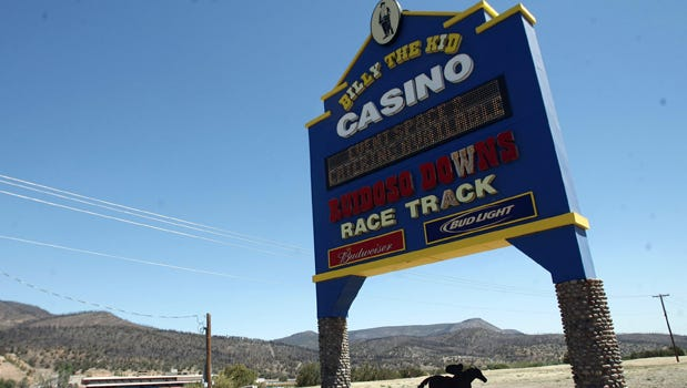 The Ruidoso Downs Race Track and Billy the Kid Casino marquee stands at the entrance to the facility. The Hubbard family announced Monday their intention to sell the race track to five businessmen with quarter horse experience.