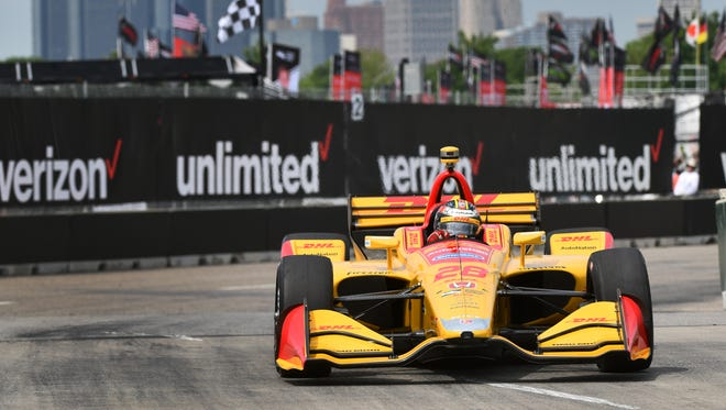 Ryan Hunter-Reay makes a turn during the Friday practice day during the 2018 Detroit Grand Prix.