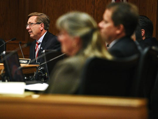 Sioux Falls Mayor Mike Huether speaks during a Sioux Falls City Council Installation Ceremony Tuesday, May 17, 2016, at the Carnegie Town Hall in downtown Sioux Falls.
