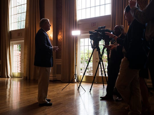 Sen. Lindsey Graham answers questions regarding offshore drilling in South Carolina at the Pointsett Club on Monday, May 1, 2017.