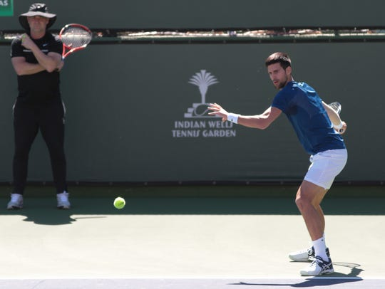 Novak Djokovic hits on the BNP Indian Wells practice