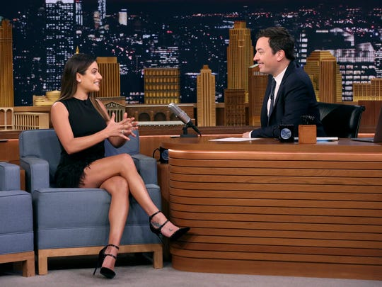 Actress and singer Lea Michele during an interview with host Jimmy Fallon on Oct. 9, 2017.