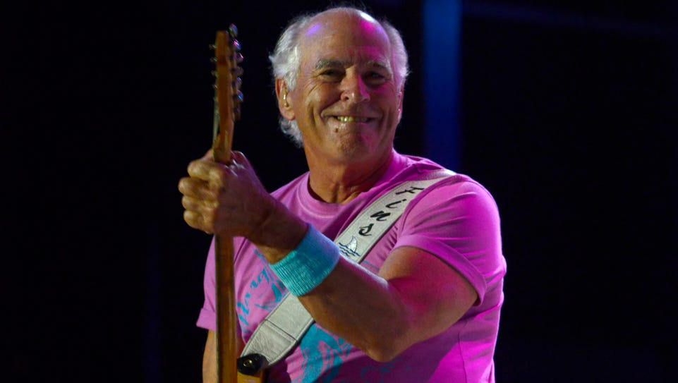 Jimmy Buffett and the Coral Reefer Band are seen in