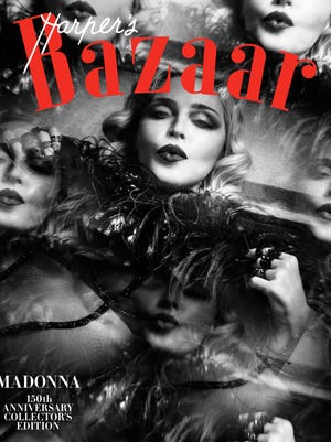 This image provided by Harper's Bazaar shows the cover of the February issue featuring Madonna. Madonna is one of 150 women chosen by editors of the Hearst magazine's 32 editions worldwide as the most fashionable women around the globe. The magazine's first-ever such list comes in celebration of its 150th anniversary, Editor-in-Chief Glenda Bailey said Monday, Jan. 9, 2017.
