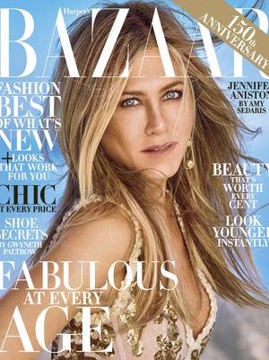 Jennifer Aniston graces the cover of 'Harper's BAZAAR's' October issue.