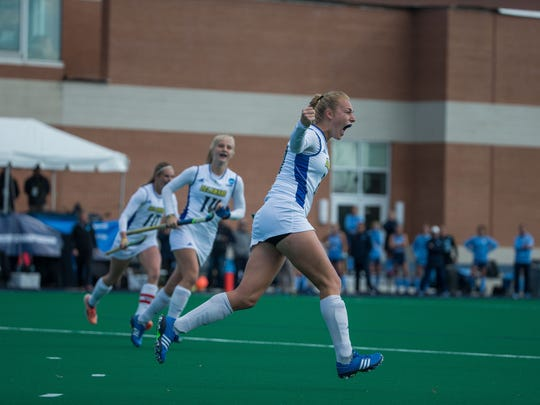 Greta Nauck celebrates her 10th-minute goal against the University of North Carolina.