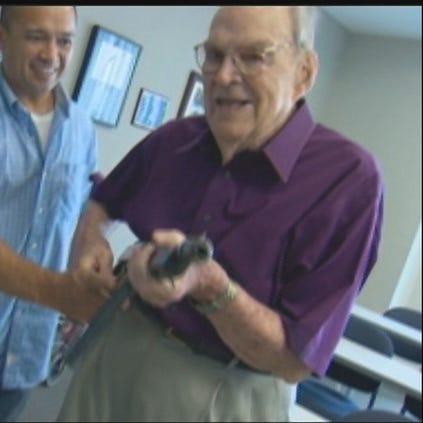 WWII veteran AJ Hilliard was reunited with his Thompson machine gun.