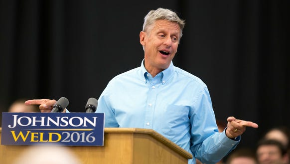 Libertarian presidential candidate Gary Johnson speaks