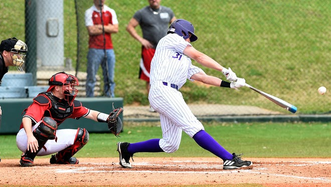 Northwestern State's Austin Townsend takes a swing during Saturday's game with Nicholls State.