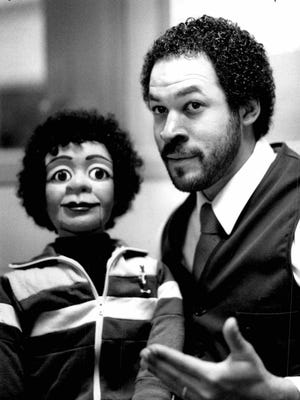 Walter Ray Taylor Jr. and Curtis Johnson, his ventriloquist's dummy, during an interview.