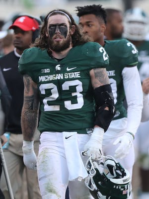 Michigan State linebacker Chris Frey looks on against BYU on Saturday, Oct. 8, 2016, at Spartan Stadium in East Lansing.