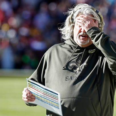 Former New Orleans Saints defensive coordinator Rob Ryan reacts on the sidelines against the Washington Redskins in the second quarter at FedEx Field. The Redskins won 47-14.