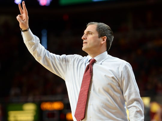 Iowa State Cyclones head coach Steve Prohm signals a play against the Texas Tech Red Raiders during the second half at James H. Hilton Coliseum.