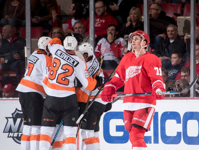 Detroit center Dylan Larkin can't watch as Philadelphia