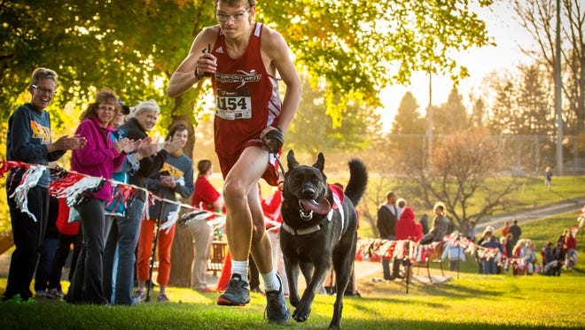 Davenport West's Tyler Gerdt and his German shepherd service dog Hugo nears the finish line during his  JV race in Clinton, Iowa, Thursday Oct 15, 2015.  Tyler was born with a brain injury, has had 15 surgeries and is autistic. The dog enables him to more effectively and safely run the races, and this has been his first season of running with Hugo.