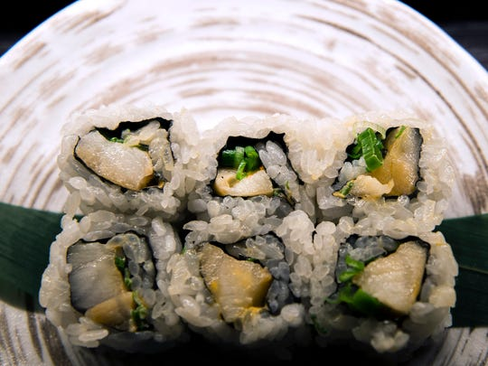 A baked sea bass roll from Double Knot in Philadelphia.