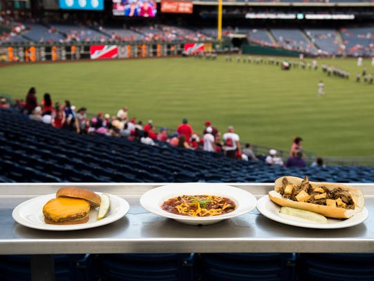 Harry the K's black bean burger (from left) three bean chili and wild mushroom cheesesteak at Citizens Bank Park Wednesday, June 1 at Citizens Bank Park in Philadelphia.