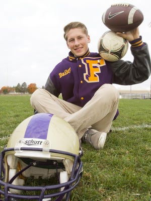 Bailey Edwards uses his kicking talent for both soccer and as a kicker for the Fowlerville varsity football team.