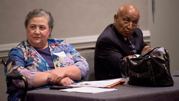 Nancy Worley and Joe reed listen as Artur Davis speaks
