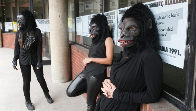 """Guerrilla Girls artists Kathe Kollwitz, Zubeida Agha and Frida Kahlo during a press preview for an exhibition of works by the Guerrilla Girls titled """"Not Ready To Make Nice: 30 Years And Still Counting,"""" at the Abrams Art Center, 466 Grand St. in New York, on April 30, 2015."""