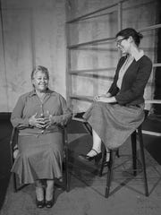 """Cindy Chase (left) and Kate Dirrigl in a scene from Lab Theater's """"Wings"""""""