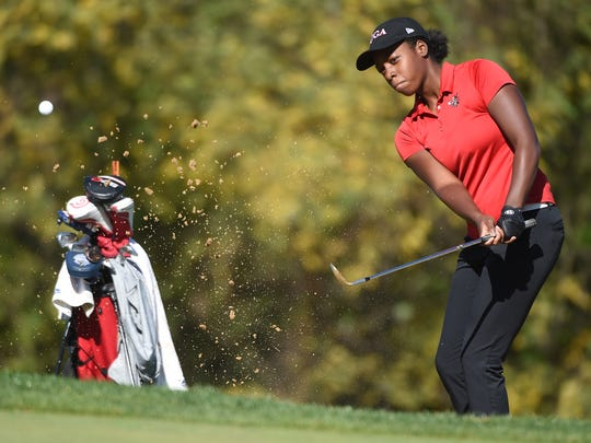 Susquehannock High School's Kendel Abrams hits onto the the 3rd green during at the YAIAA tournament held at Heritage Hills on Tuesday, Oct. 24, 2017.