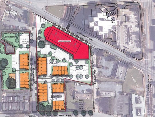 The footprint of the BB&T development project, which