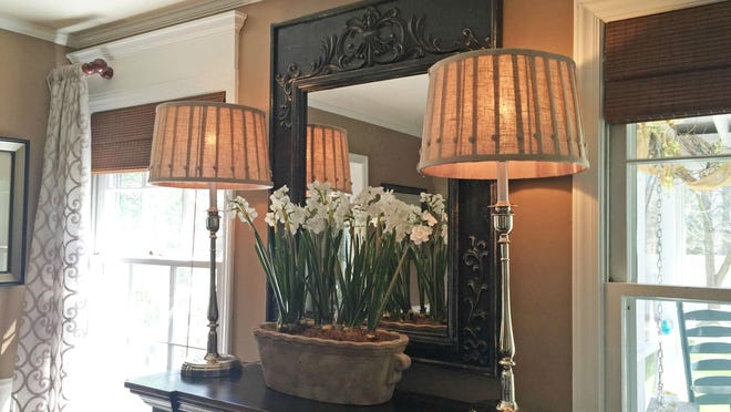 My buffet lamps are tall and the shades are wide, but it works. I use 40-watt bulbs for soft, diffuse light.