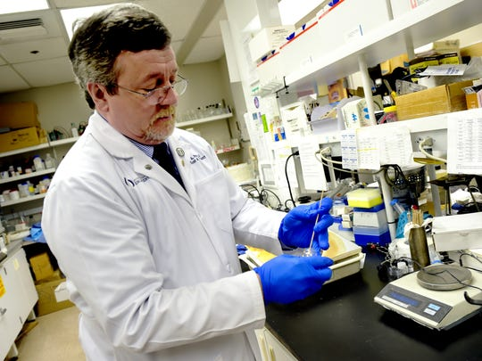 University of Mississippi Medical Center Dr. Ian Paul displays how he swabs for DNA samples at UMMC. The University of Mississippi Medical Center is participating in SPARK, a nationwide collaborative research initiative concerning autism.