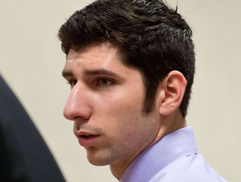 Brandon Belliveau, 20, of Milton, Vt., pleads not guilty Aug. 19, 2014, in Vermont Superior Court in Burlington, Vt., to a simple assault charge.