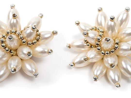 Vintage pearl burst earrings