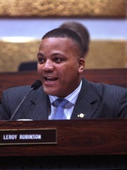 City-County Councillor LeRoy Robinson, a Democrat, is shown at the council meeting at the City-County Building in Indianapolis on Monday, March 30, 2015.