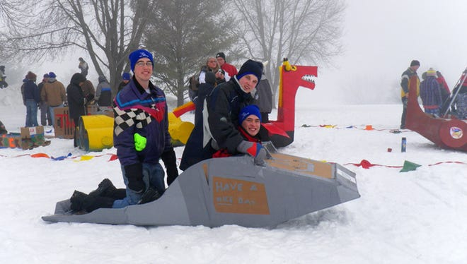The Cardboard Adventure Downhill Sled Race was a hit at the Grand Ledge Fun on the Rocks Winterfest last year.