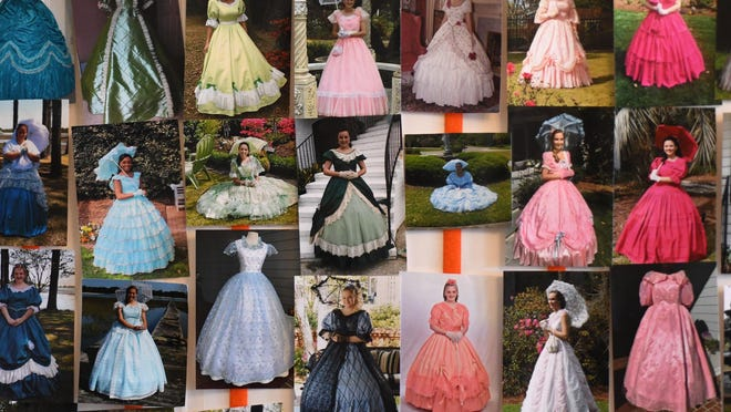 Pictures of Cape Fear Garden Club Azalea Belles from previous years are displayed at the home of Debbie Scheu in Wilmington, N.C., Saturday, January 25, 2020. Scheu has been making dresses and fitting belles for 29 years.