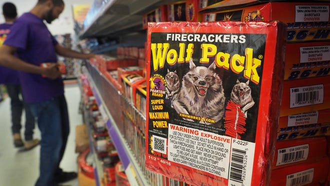 Firecrackers on display at Phantom Fireworks in Seabrook.