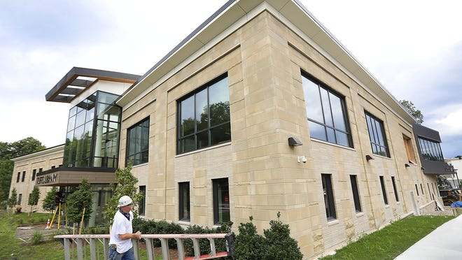 Construction of the new Tufts Library on Broad Street in Weymouth is nearly complete.