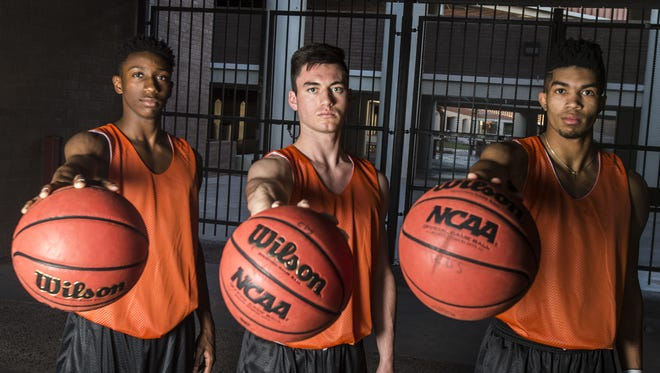 Corona del Sol's Saben Lee (L-R), Alex Barcello and Tyrell Henderson look to lead the team back to another state championship at Corona del Sol.